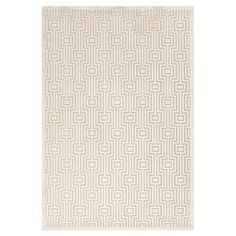 Chenille-blend rug with a geometric motif.   Product: RugConstruction Material: Viscose and chenilleColor: Ivory      Note: Please be aware that actual colors may vary from those shown on your screen. Accent rugs may also not show the entire pattern that the corresponding area rugs have.Cleaning and Care: Vacuum regularly without beater bar. Spot clean or shampoo with a mild detergent. Avoid direct sunlight to prevent fading.