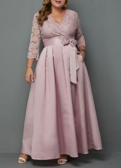 V Neck Plus Size Lace Patchwork Dress Big Size Dress, Plus Size Maxi Dresses, Plus Size Outfits, Dresses With Sleeves, Formal Cocktail Dress, Spandex Dress, Mom Dress, Patchwork Dress, Party Dresses For Women