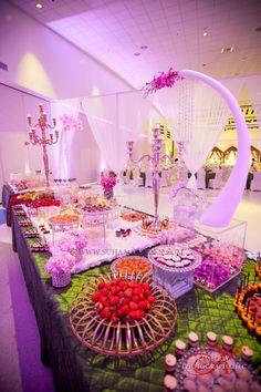 Suhaag Garden, Indian Wedding Decorator, Dessert Lounge, Dessert Presentation, Florida Wedding Decorator, White & Green Themed Event, Dessert Lounge Display