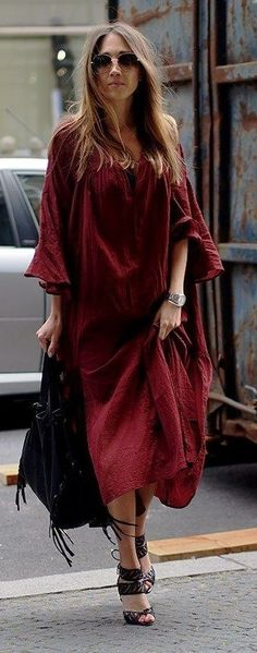 Burgundy Maxi Dress, Black Hobo Bag, Black Sandals | Street Boho | Hello, Shopping