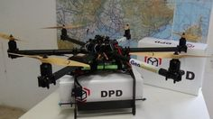 DPD Geopost 'geodrone' parcel delivery drone with branded package