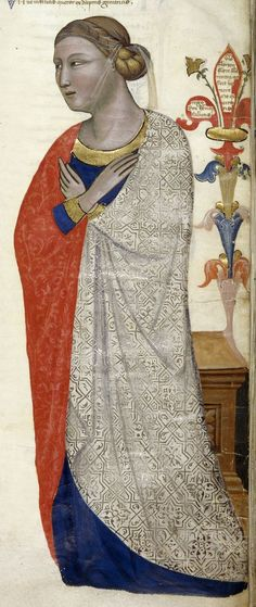 ca. 1335-1340 Italy (Tuscany) British Library Royal 6 E IX: Regia Carmina (Address in verse to Robert of Anjou, King of Naples, from the town of Prato in Tuscany) fol. 13r - personification of...