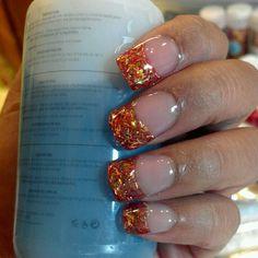Autumn/Fall inspired acrylic nails :) (custom-made the glitter myself)