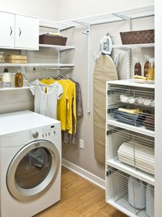 Furniture, Small Spaces Basement Laundry Room Design With Wall Mounted Cabinet Combined With Hanging Rod And Washing Machine Plus Wall Mounted Ironing Board Inspiring Ideas ~ 20 Laundry Room Cabinets to Try in Your Home Grey Laundry Rooms, Laundry Room Layouts, Laundry Room Shelves, Laundry Room Cabinets, Basement Laundry, Laundry Storage, Laundry Room Design, Mud Rooms, Laundry Baskets