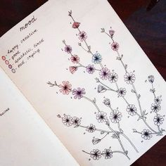 Fresh ways to track your moods with a bullet journal! Imaginative layouts, great inspiration for self care, like this pretty colored monthly tracker with botanical drawings. Each flower is a day of the month. So creative!