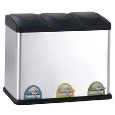 Three compartment step-on recycling bin in stainless steel and black.  Product: Recycling binConstruction Material: ...
