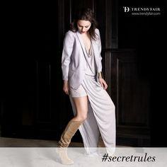 In fashion, we keep the rules secret.   YSL jacket, Emanuel Ungaro dress