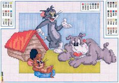 Tom e Jerry Cross Stitch Alphabet Patterns, Disney Cross Stitch Patterns, Bead Patterns, Just Cross Stitch, Cross Stitch Charts, Tom Og Jerry, Cross Stitching, Cross Stitch Embroidery, Stitch Cartoon