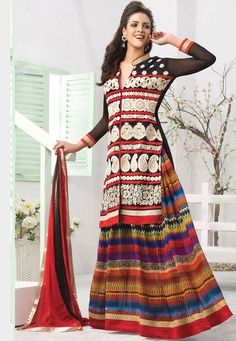 Multicolor #Faux #Georgette #Lehenga #Choli with Dupatta  Price: $94.40