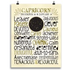 Need a personalized Capricorn gift birthday or holiday gift. This unique print highlights all the good traits that Zodiac sign. Designed with a snug-fit full page of typography, this print highlights