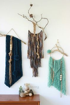 wall hanging | driftwood | pompoms | wooden beads | jute | wool