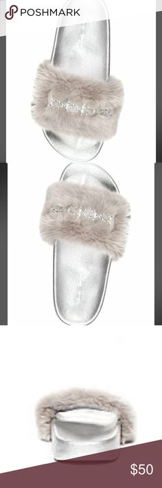 BEBE Furry Slipon Sandals Slides SILVER GRAY NEW BEBE Furry Slipon FURIOSA Sandals slides SILVER & GRAY authentic, MSRP $56+with rhinestones. New, never worn. perfect condition,$ on Btm shoe. Color as photo'd. style-Fabrizia FuriosaSuper Comfy Sexy & Versatile. Can wear a lot of different ways-w sweats, jeans, leggings.  Super cute Stylish & Affordable . NOW SOLD OUT ONLINE & IN STORES.  Only have a few.  Will add pic upon req soon bebe Shoes