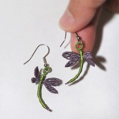 Machine embroidery pattern for lace Dragonfly Earrings-Sonia Showalter Owl Earrings, Lace Earrings, Pearl Stud Earrings, Pearl Studs, Crochet Earrings, Crochet Jewellery, Textile Jewelry, Machine Embroidery Applique, Embroidery Ideas