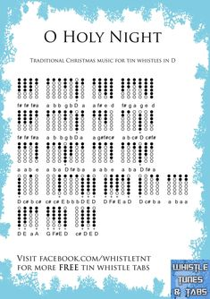 Oh Holy Night Tin Whistle, Flute Sheet Music, Sheet Music Notes, Christmas Flute Music, Flute Fingering Chart, Irish Flute, Wooden Flute, Native Flute, Native American Music