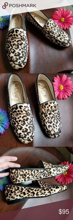 """Sam Edelman Lior loafers 7.5 leopard shoes flats Authentic Sam Edelman Lior Loafer shoes, size womens 7.5 . """"Polished horsebit hardware styles a comfortable loafer in a classic silhouette upgraded for the wild in leopard print calf hair."""" Low heel, leather / dyed cow fur , gold tone metal details, black soles and piping. In excellent used condition, looks to have been worn maybe once! From a smoke free home:)  8688sam9f7f  Leopard cheetah cat fur hair Sam Edelman Shoes Flats & Loafers"""