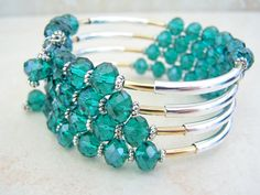 Jade Crystal, Wrap Bracelet, Memory Wire Bracelet, Cuff Bohemian Style, Stack Bracelet, Coil Wrap by Feralspassage
