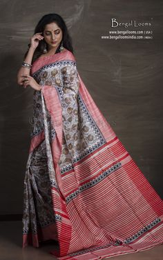 Printed Tussar Silk SareeColor : Off White, Red and BlackBlouse Piece : Yes (cut and separated from the saree)Fall Pico : YesCare : Dry-Clean OnlyCondition : New Tussar Silk Saree, Mulberry Silk, Off White, Cover Up, Sari, Printed, Red, Collection, Black