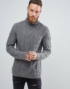 ASOS Cable Knit Sweater In Charcoal - Gray