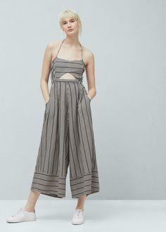 Striped cotton jumpsuit - Jumpsuits for Woman | MANGO
