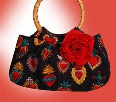 Mis Cositas Bamboo Handle Purse with Sacred Heart Designs and Red Silk Rose