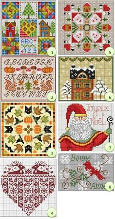 Free Seasonal Cross-stitch biscornu Designs ... no color chart available, just use the pattern chart as your color guide.. or choose your own colors...