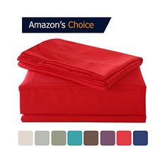 HollyHOME 1500 Soft Hypoallergenic Brushed Microfiber Bed Sheet Set 4 Pieces Queen Size Sheets Red *** More info could be found at the image url.