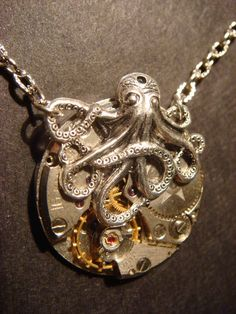 Steampunk Octopus Necklace on Vintage Watch Movement with Exposed Gears - Neo Victorian-Upcycled- (360)