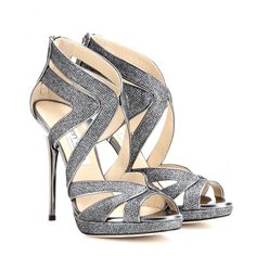 Metal heel and sparkling glittered canvas #sandals by Jimmy Choo. #metallic #shoes