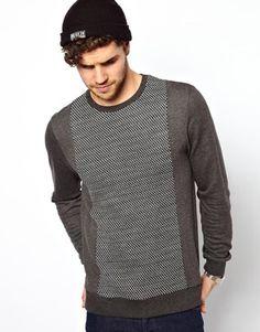 Image 1 ofASOS Sweatshirt With Knitted Panel