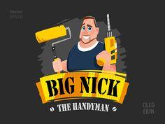 The handyman repairman builder Vector Character Design Illustration Mascot Logo Brand