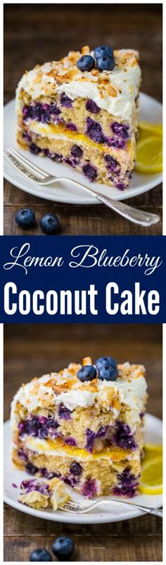 This luscious Lemon Coconut Blueberry Cake is bursting with flavor and beauty! Blueberry Cake, Blueberry Recipes, Lemon Recipes, Baking Recipes, Cake Recipes, Dessert Recipes, Fun Desserts, Delicious Desserts, Yummy Food