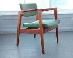 5 Gunlocke, Lounge Chair, Office Chair, Mid Century Modern, Danish Modern, Walnut, Green
