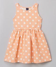 Peach & White Polka Dot A-Line Dress - Toddler & Girls