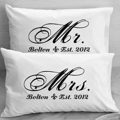 Mr and MRS Pillowcases Personalized Wedding Gift, Anniversary, Romantic Gift Idea for Couples. by Custom-PillowCases-by-StockingFactory, http://www.amazon.com/dp/B00CD9HODM/ref=cm_sw_r_pi_dp_bqDKrb1GSP7RK
