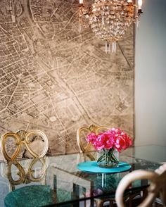 Beautiful map used at art in dining room | Lonny Magazine