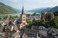 view of St. Peter's Church, Werner Chapel Ruins, Rhine River, Bacharach, Germany
