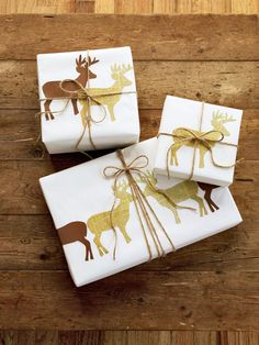 Wrap your Christmas gifts with Deer-Silhouette Wrapping Paper. Print and cut out our templates, then trace onto newsprint or construction paper and cut out. Tape in place and finish the twine.