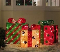 Set of 3 Gold, Green and Red Sisal Gift Boxes Lighted Christmas Yard Art Set of 3 Lighted Gift Boxes Christmas Yard ArtItem with a Amazon Christmas Decorations, Christmas Present Decoration, Christmas Yard Art, Christmas Gift Box, Paper Decorations, Christmas Lights, Christmas Crafts, Christmas Presents, Holiday Decor