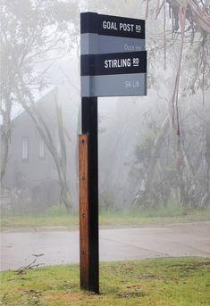 Directional sign post at Mount Buller Village by Heine Jones Directional Signage, Wayfinding Signs, Outdoor Signage, Signage Display, Signage Design, Environmental Graphic Design, Environmental Graphics, School Signage, Navigation Design
