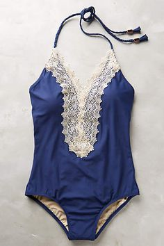 lace-front maillot #anthrofave #blueandwhite #hamptonsstyle