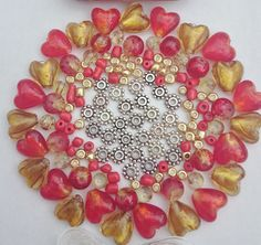 bracelet jewellery making kit tin heart silver foil crackle red gold beads bead