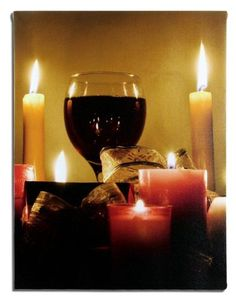 030c45e2a786 Wall Art With Led Lights Canvas Print Lighted Candle And Wine Glass Picture  - Wine And