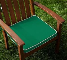 Sunbrella(R) Contrast Piped Outdoor Dining Chair Cushion; Emerald