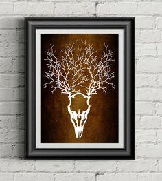 Deer Skull Art, Paper Cut Art, Nature Art, Deer Antler Decor, Tribal Wall Art, Rustic Home Decor, Bohemian Art, Native Ethnic Art - pinned by pin4etsy.com