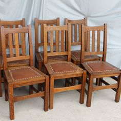 Stickley Harvey Ellis Oak Art Crafts Chairs Pair Kitchen Reno Solid And Dining