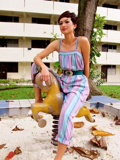 Striped jumpsuit from the 1980s. Love the candy colours!