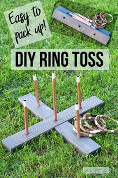 How to make a simple DIY ring toss game for summer outdoor parties or weddings. Lot's of backyard fun! The copper and faux marble adds a classy look to it! diy outdoor backyards DIY Ring Toss Game - How To Make A Collapsible, Easy To Store Version Diy Yard Games, Diy Games, Backyard Games, Backyard Projects, Outdoor Games, Outdoor Fun, Backyard Play, Awesome Woodworking Ideas, Woodworking For Kids