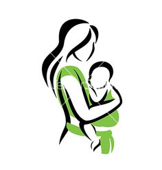 Mom holding her baby in a sling vector on VectorStock