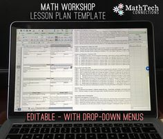free math workshop lesson plan templates - editable with drop down menus