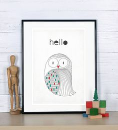 Retro poster in Scandinavian style - owl - simple Nordic design, vintage bird print, A3, nursery wall decoration, retro wall decor